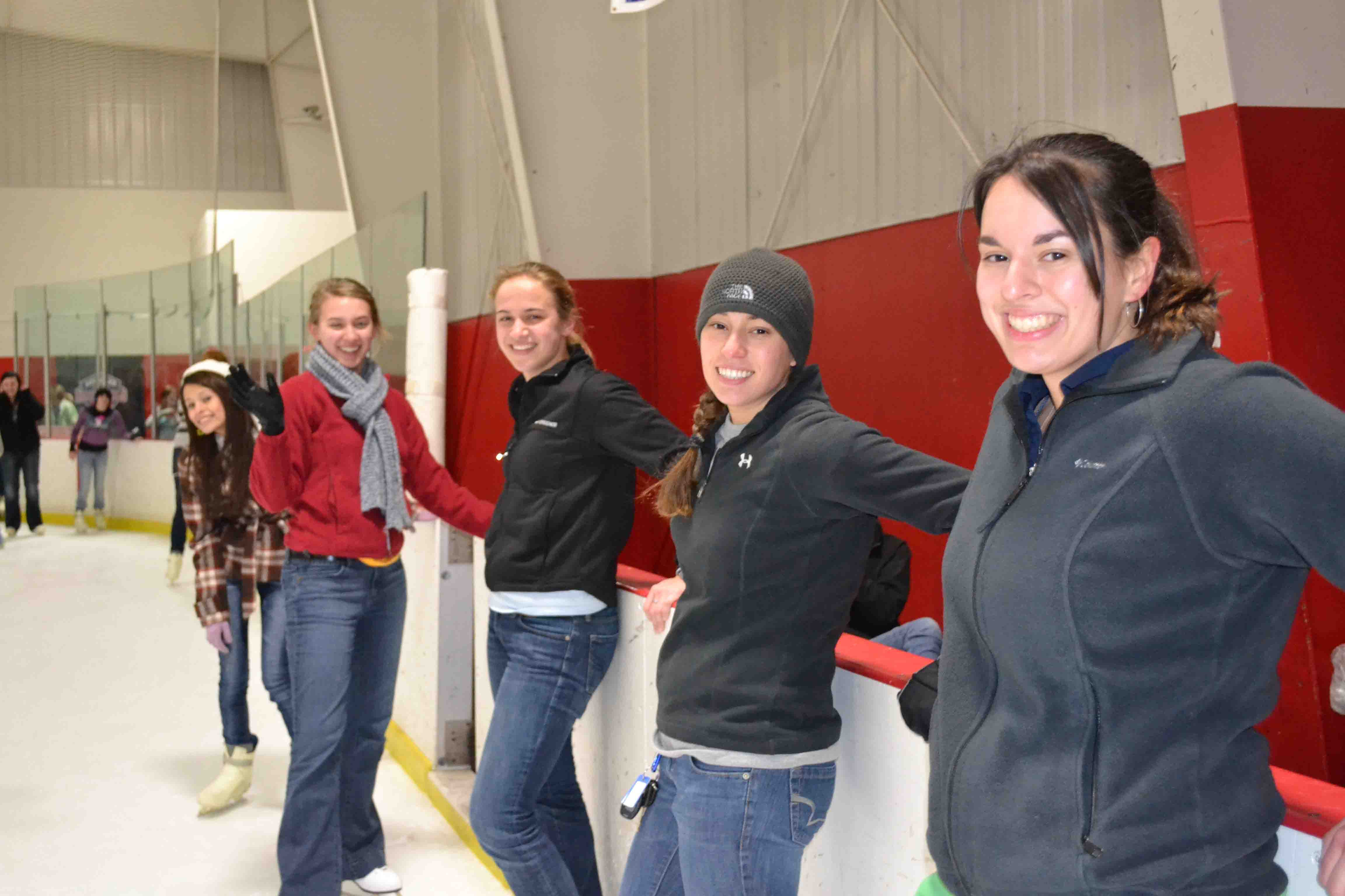 Frida, Cambria, Kelsey, Monica and Liz are ready to hit the ice.