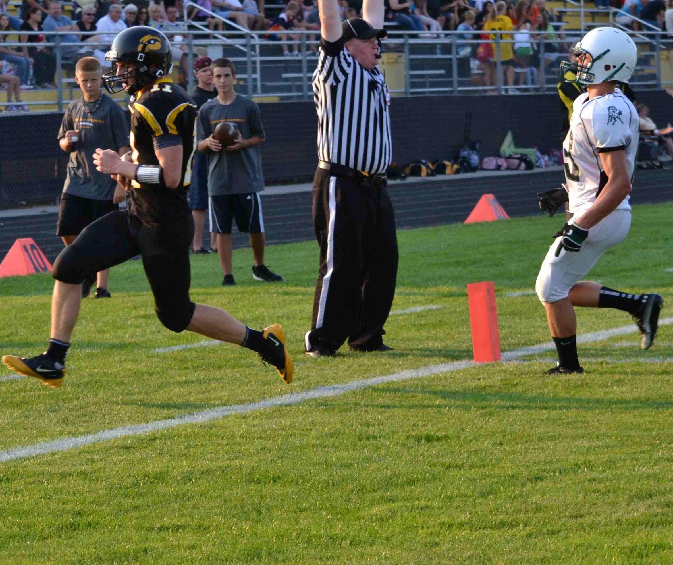 Nick Kronemeyer runs into the endzone untouched for the Hawkeyes first score.