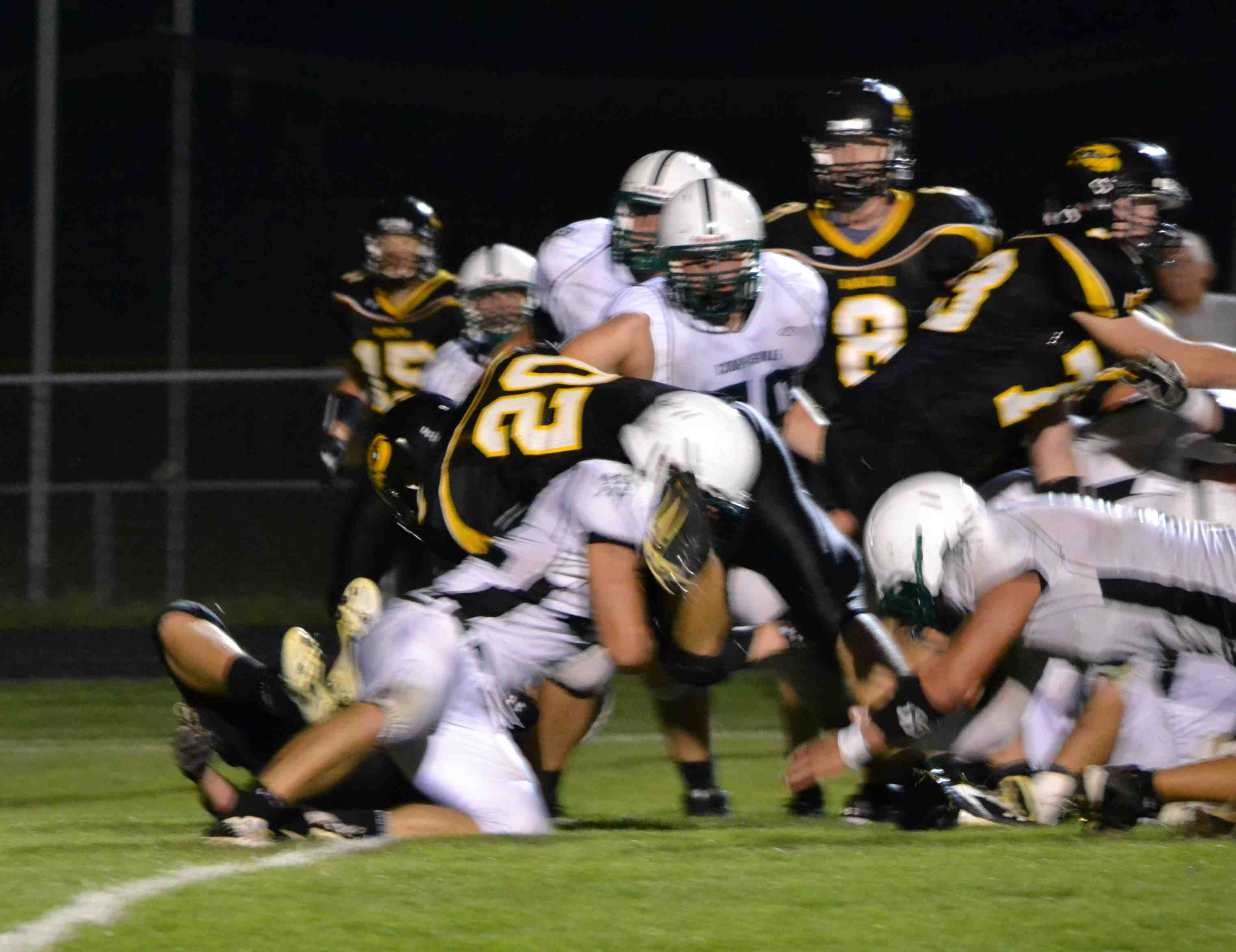 Senior running back Tommy Schreur follows his line and with second effort gets into the endzone.