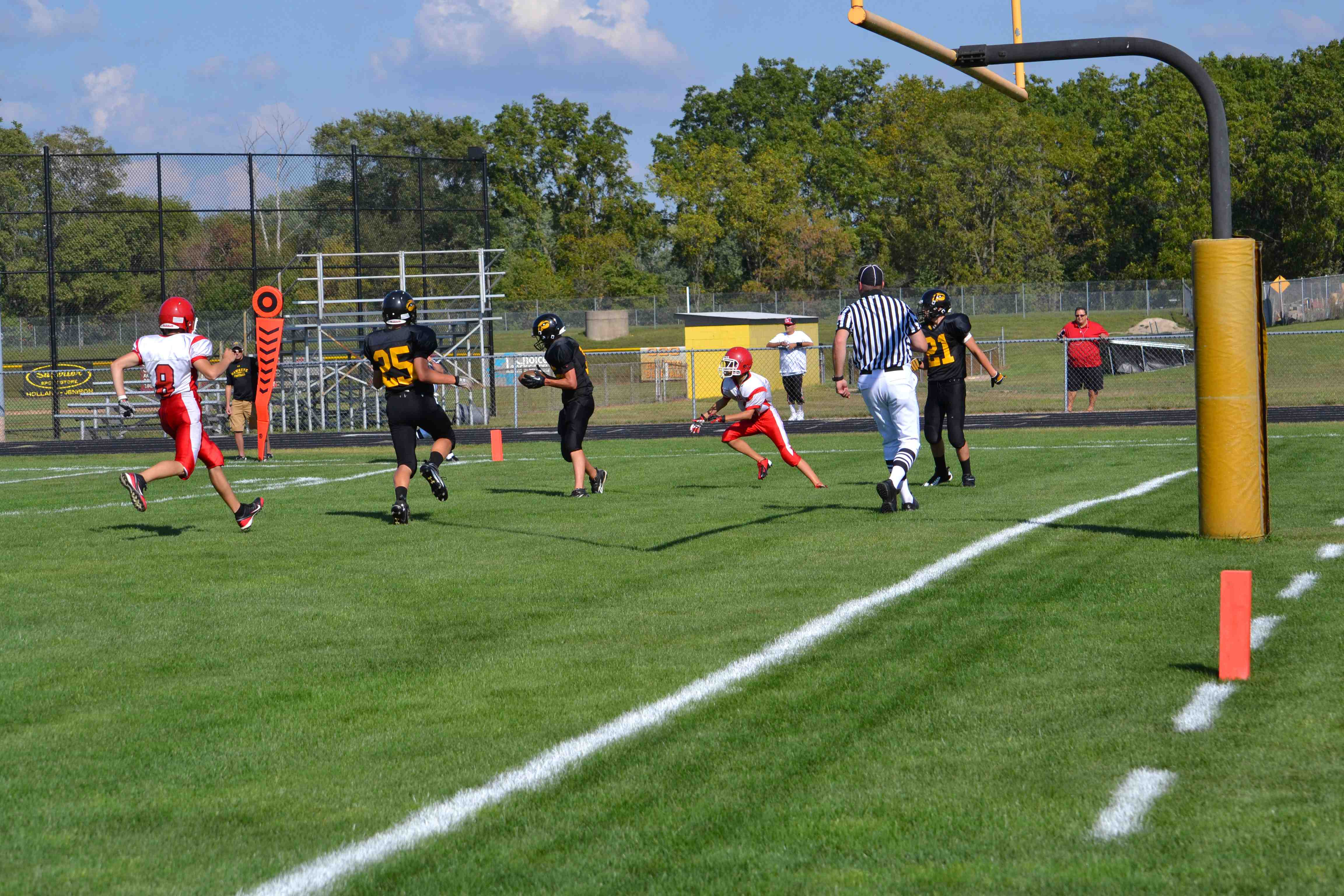 Ryan Tolsma grabs a ball in the endzone for the Hawkeyes.