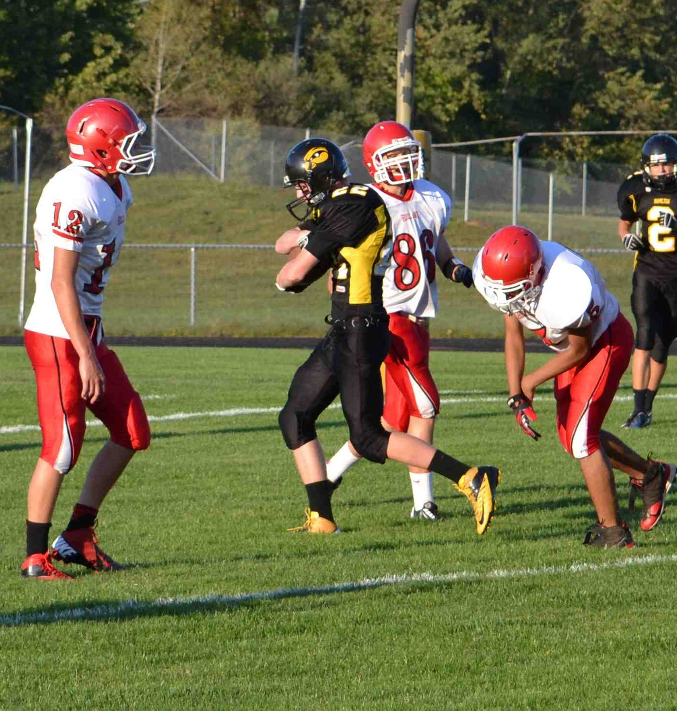 Colton Becksvoort is into the endzone.
